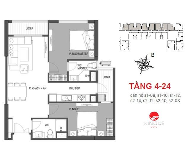 Thiết kế căn 08 - 10 tòa Sachi
