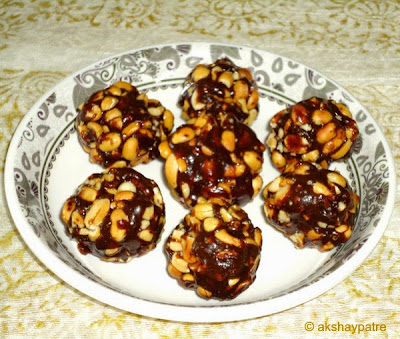 ladoo prepared with peanut jaggery mixture
