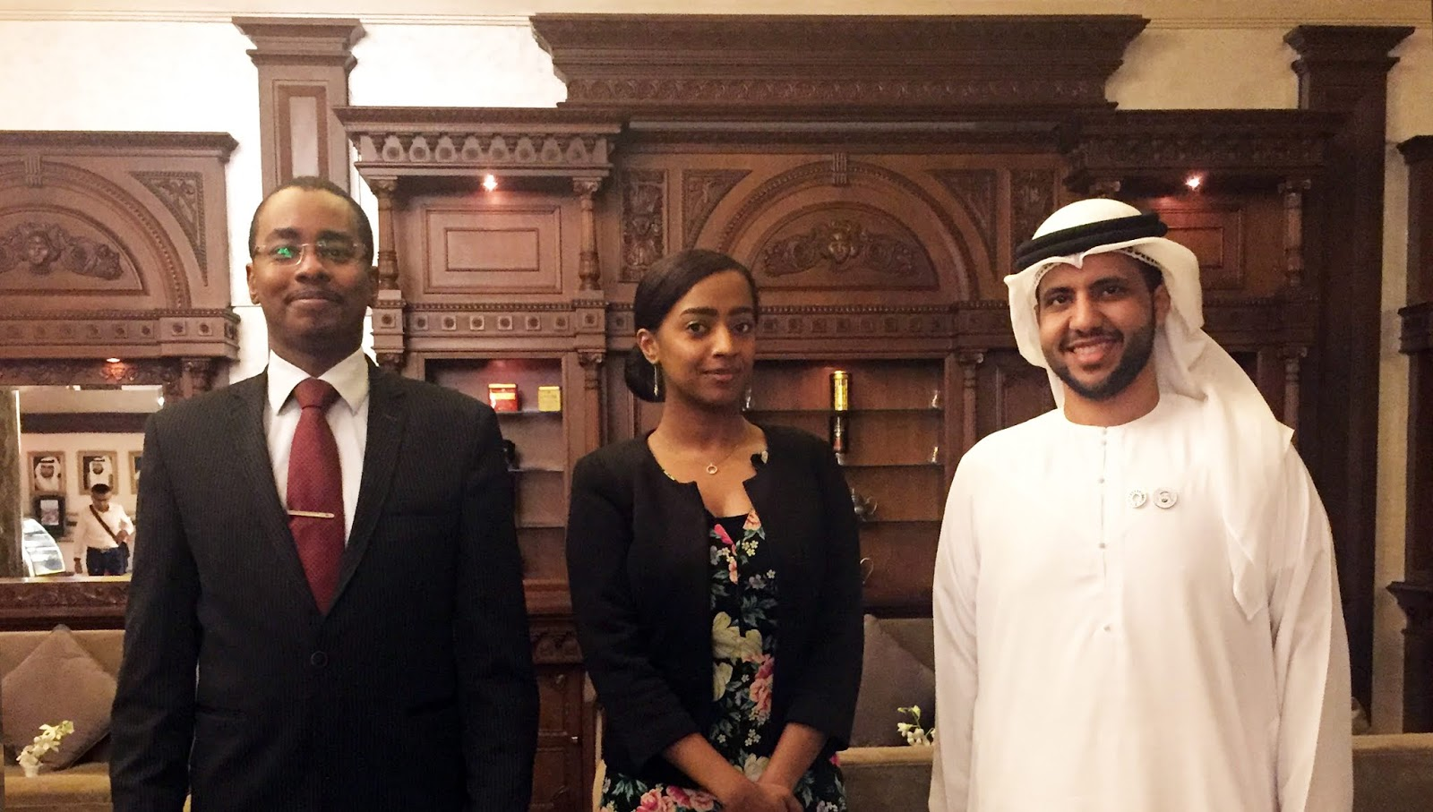 From right to left: H.E. Ambassador Saeed ZAKI, IYF SG, Ms. Ebtihal Alkanzy, Special Regional Coordinator in the Middle East, and Eng. Mohamed Al Shatri, IYF Representative in the United Arab Emirates. Photo: IYF UAE