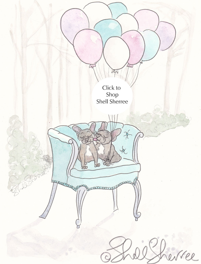 Frenchies and Balloon Forest french bulldogs illustration  © Shell Sherree all rights reserved