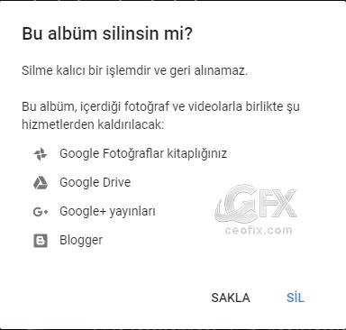 Google albüm arşivinden resimleri sil