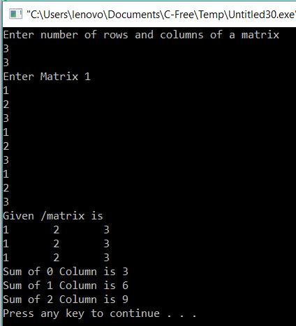 Program to print sum of Columns in matrix using GOTO Statement