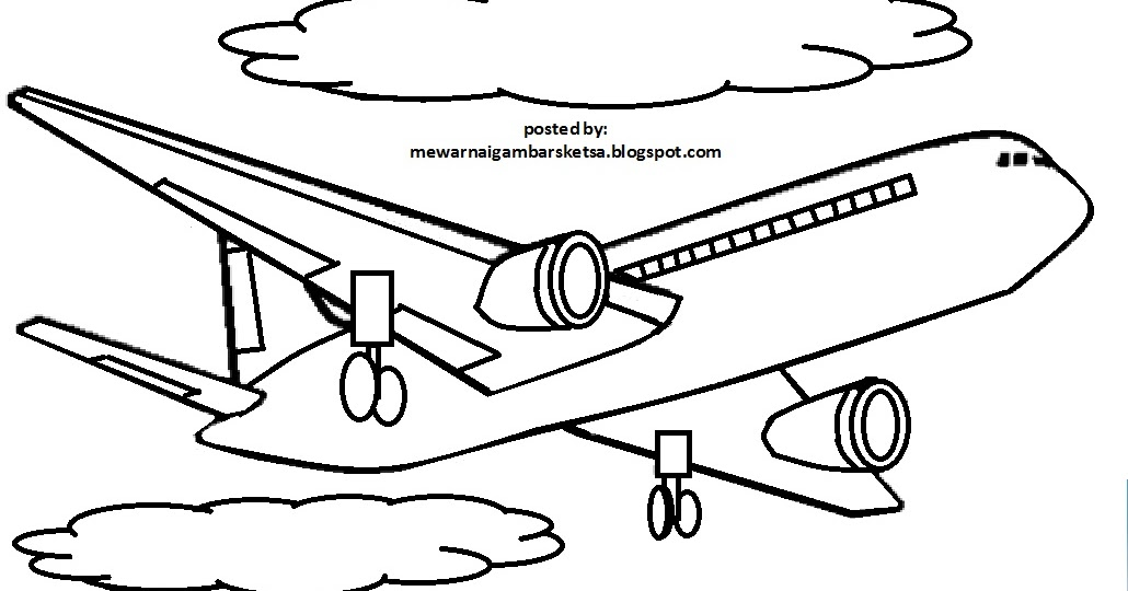 Sketsa Gambar Pesawat Terbang
