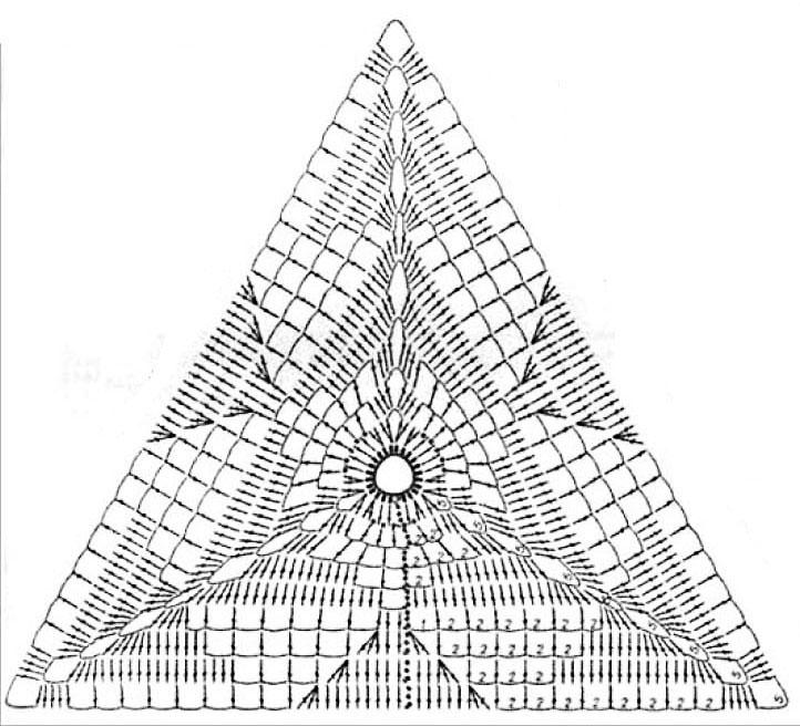 Вязание крючком треугольник в схеме 13