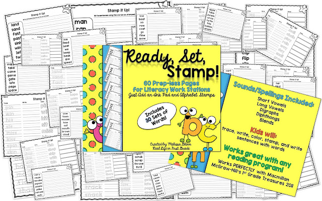 Real Life in First Grade: Ready, Set, STAMP! Literacy Workstation on TpT