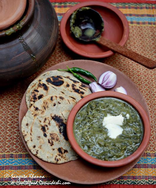 Rajasthani khatta saag and bajre ki roti