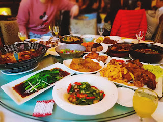assortment of asian food in restaurant
