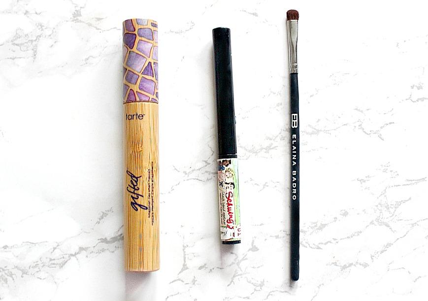 tarte gifted mascara, the balm schwing eyeliner, elaina badro eyeshadow brush