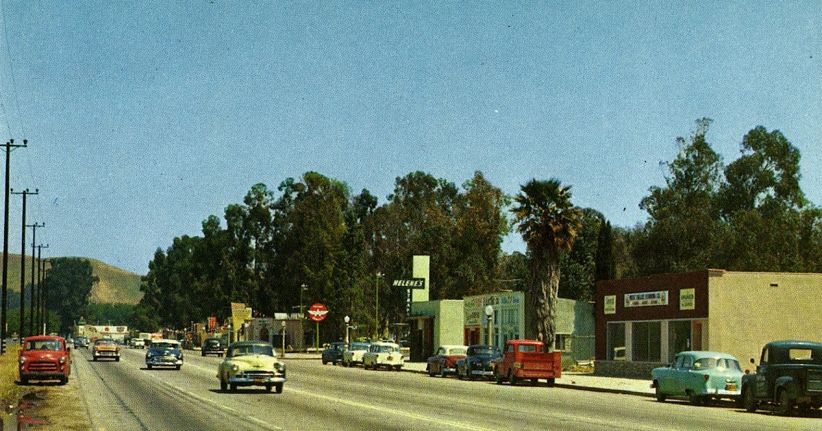 1950's Ventura Blvd in Woodland Hills Postcard   San ...