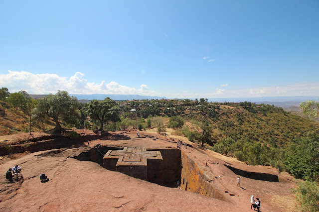 Saint George's Church in Lalibela (shaped as a giant cross) is carved 15 metres into the ground