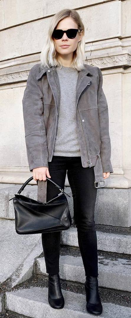 black and grey outfit idea: jacket + tee + bag + jeans + boots