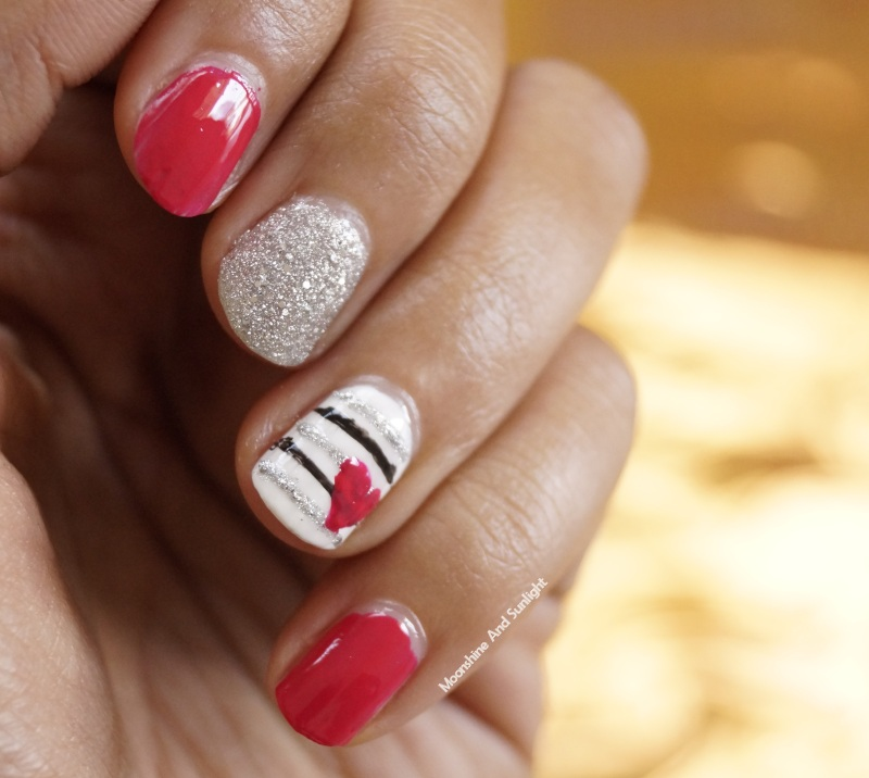 Heart on stripes Nail art tutorial | Step By Step - Moonshine And ...