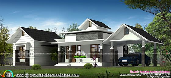 3 BHK single floor sloping roof house