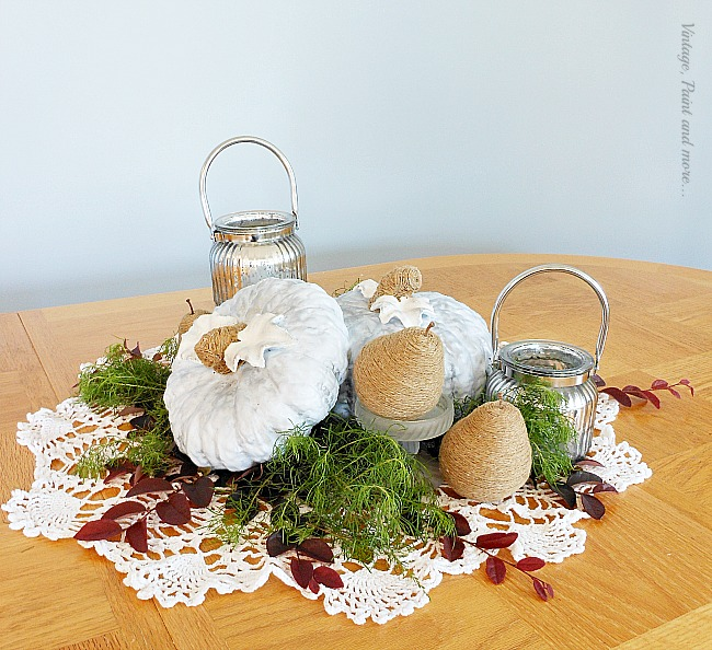 Vintage, Paint and more... blue ceramic pumpkins with twine wrapped pears and mercury glass candles for a fall centerpiece