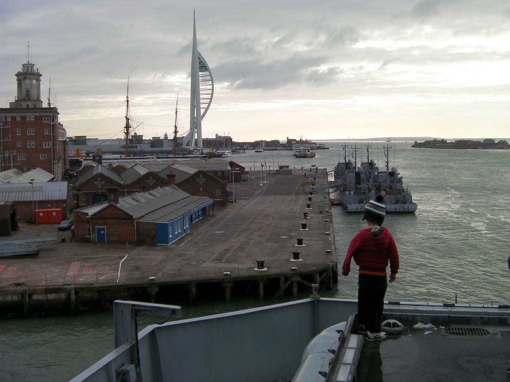 hms ark royal aircraft carrier in portsmouth harbour