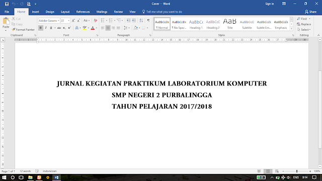 Contoh Jurnal Kegiatan Lab Komputer SMP Negeri 2 Purbalingga