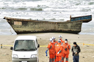 Japan found wreck With bony human shore