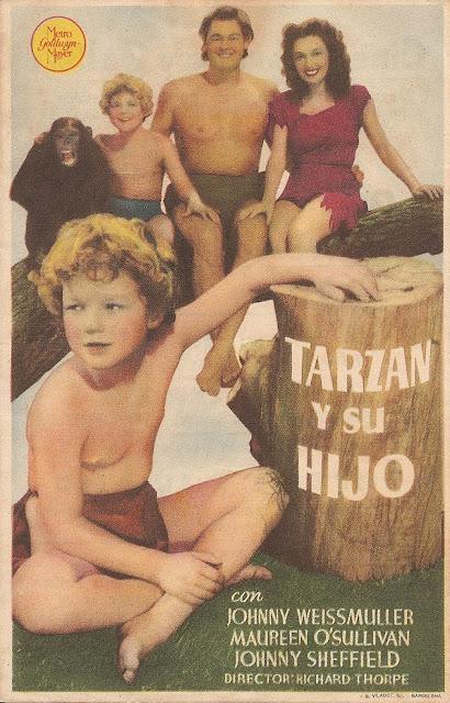 Tarzán y su Hijo - Folleto de cine - Johnny Weissmuller - Maureen O'Sullivan