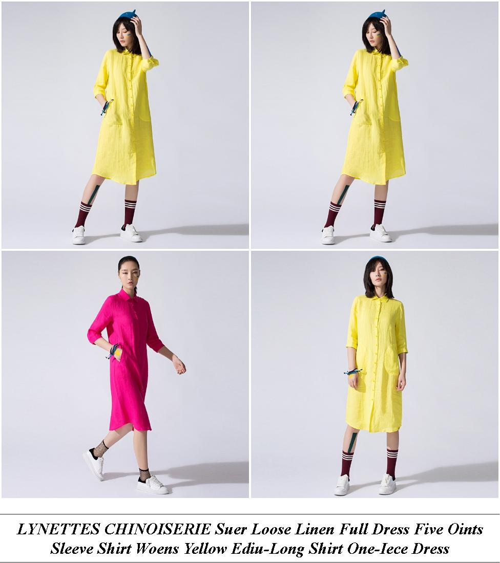 Yellow Dress Made In - Large Womens Clothing Near Me - Short Lack Cocktail Dress With Long Sleeves