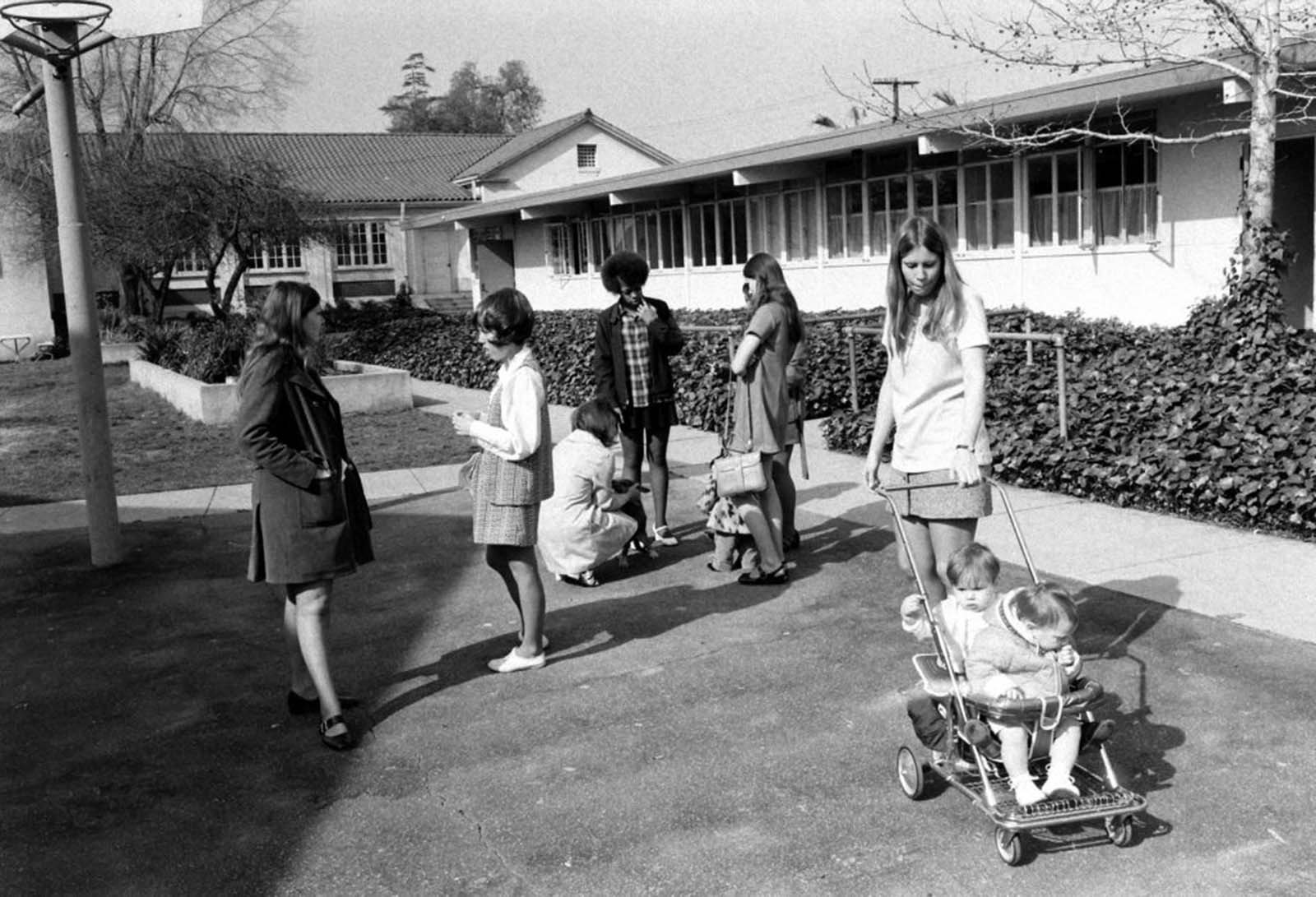 High school students with babies, Azusa, Calif., 1971.