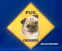 pug crossing sign
