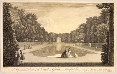 Scan of a painting from 1748, 'Perspective View of The Canal at Gubbins in Hertfordshire, a Seat of Sir Jeremy Sambrooke' by Chatelain