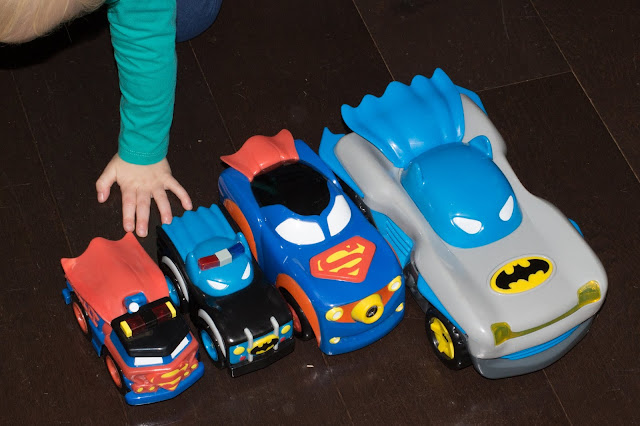 The Herodrive toy cars range lined up in size order