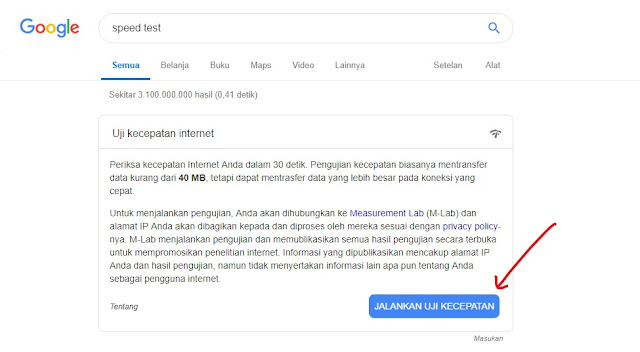 Menjalankan speed test google