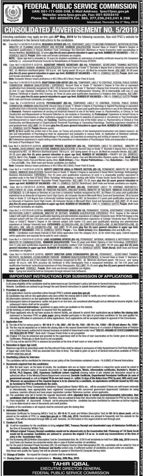 fpsc may 2019 jobs