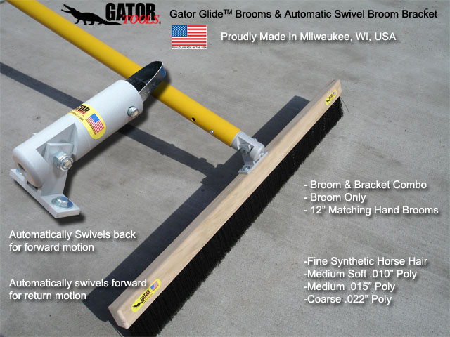 Gator Tool Concrete Tools Broom And Bracket Combination With Gator Glide Automatic