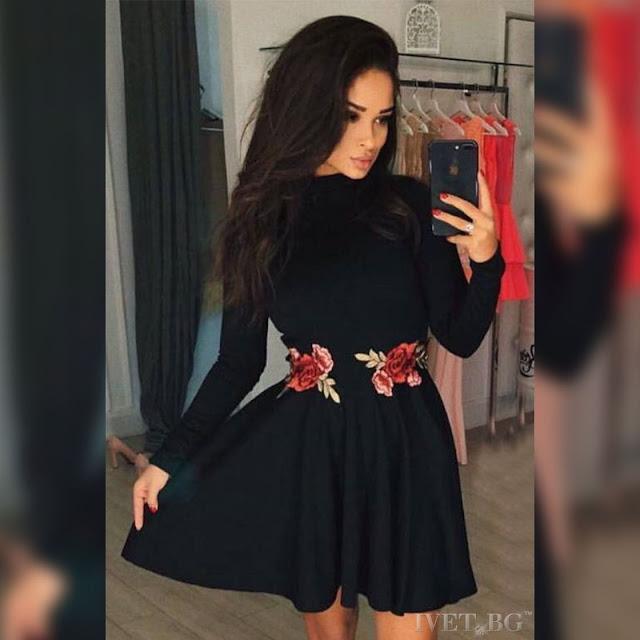 Μακρυμάνικο κοντό μαύρο φόρεμα Hailey