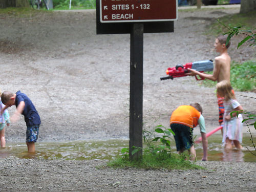 kids having a water fight