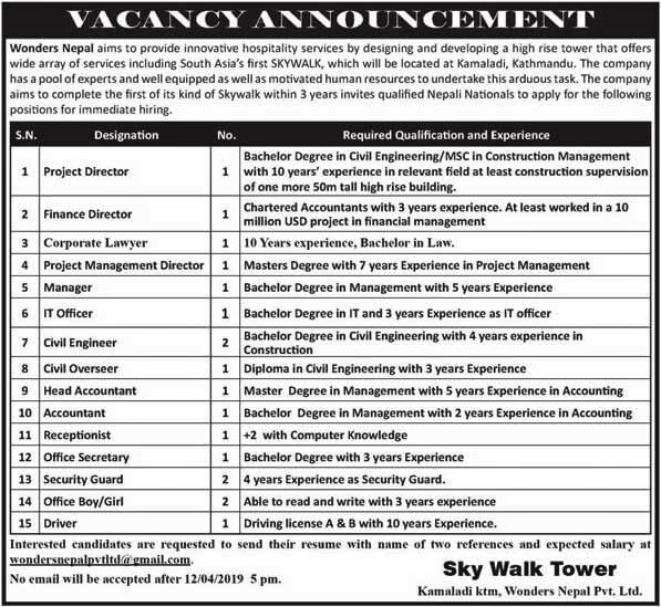 Wonders Nepal Announces Vacancy for Various Positions.