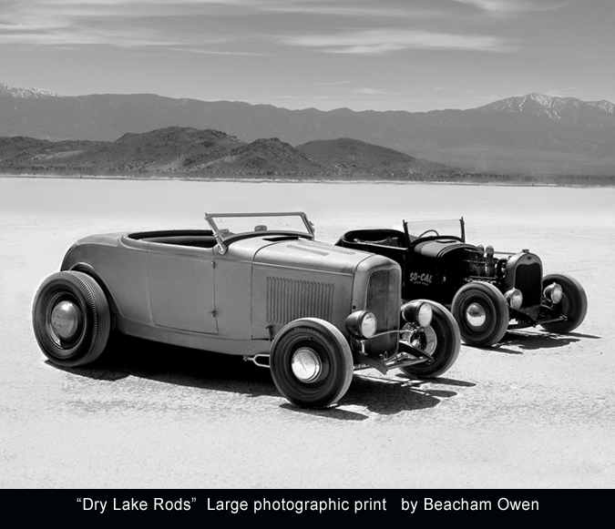 Model A and Model T Hot Rods at El Mirage Dry Lake photo print by Beacham Owen aka Beach Owen