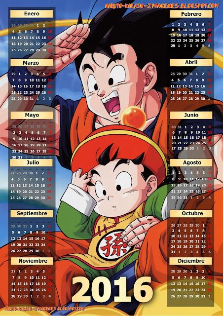 calendario 2016 dbz
