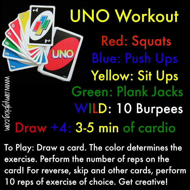 This UNO Workout will keep you moving through the whole deck! It's a total body no weights workout that you can do anywhere! Check out the full post for cardio and additional exercises to use for this workout game! #bodyweightworkout #noweights #workoutanywhere #athomeworkout