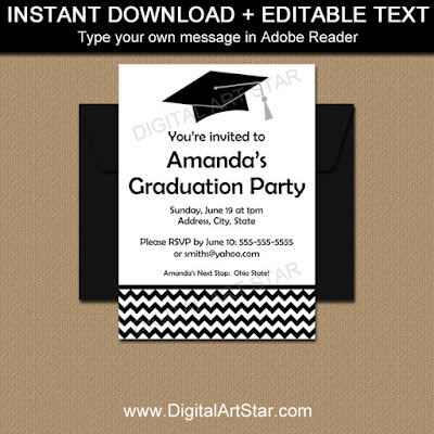 high school graduation invitation template in black and white with modern chevron design