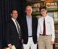 Allen Tate Wood '66, center, with Matt Wilson, director of alumni and development, and Collin Jones '18, who assisted Wood with his presentation in Upper School Seminar.