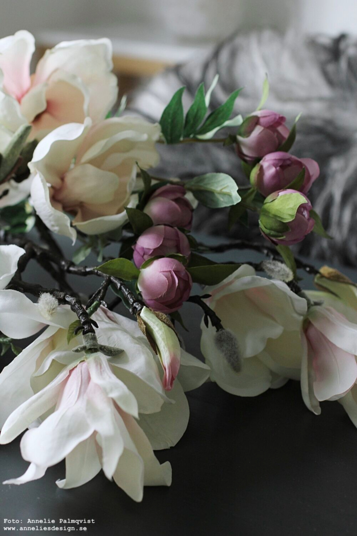 annelies design, webbutik, webbutiker, webshop, blomma, blommor, bukett, buketter, konstgjorda blommor, snittblomma, snittblommor, pion, pioner, magnolia, naturtrogna, konstgjort,