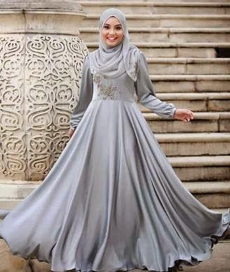 Contoh desain busana gaun pesta muslim minimalis