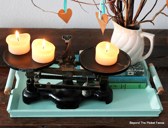 centerpiece, tray, old books, candles, balance, curly willow, fusion mineral paint, copper paint, valentines day, http://bec4-beyondthepicketfence.blogspot.com/2016/01/how-to-make-centerpiece.html