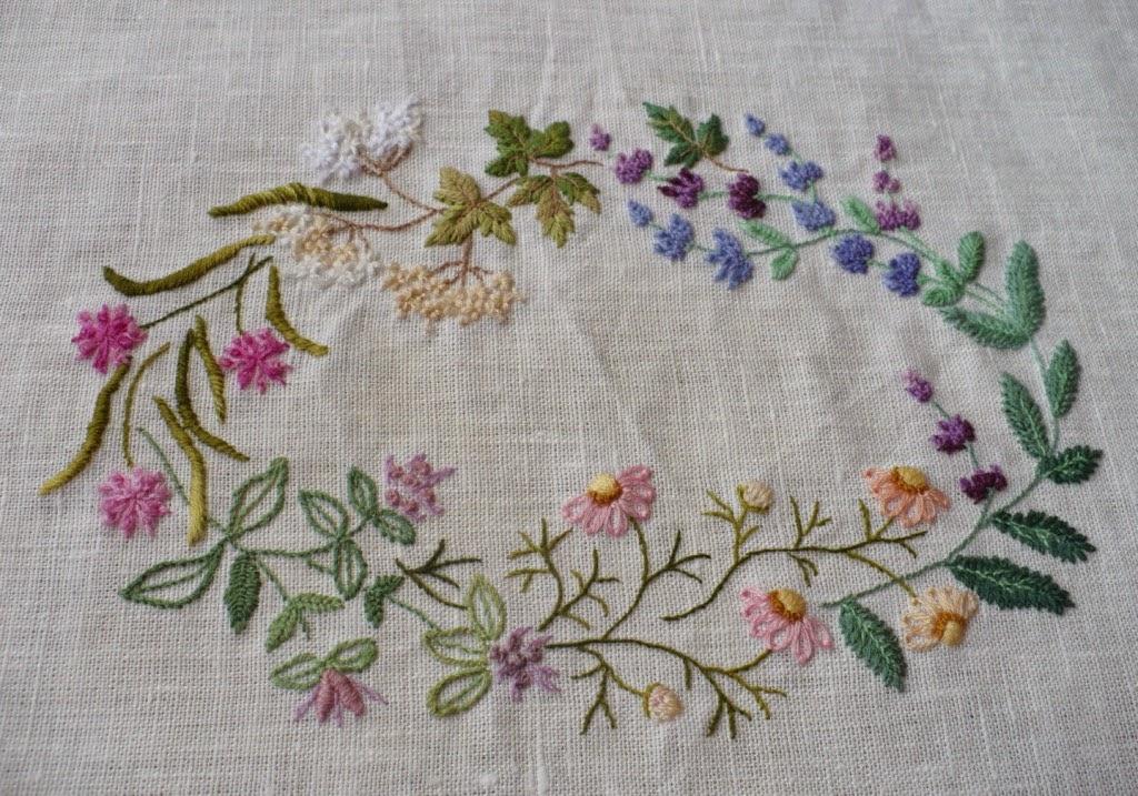 блог Лаконичная вышивка, Herb Embroidery on Linen, Sadako Totsuka