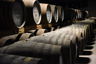 Whisky aging in oak barrels