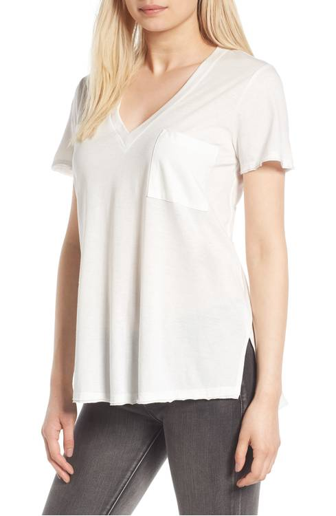 lush raw edge slit tee