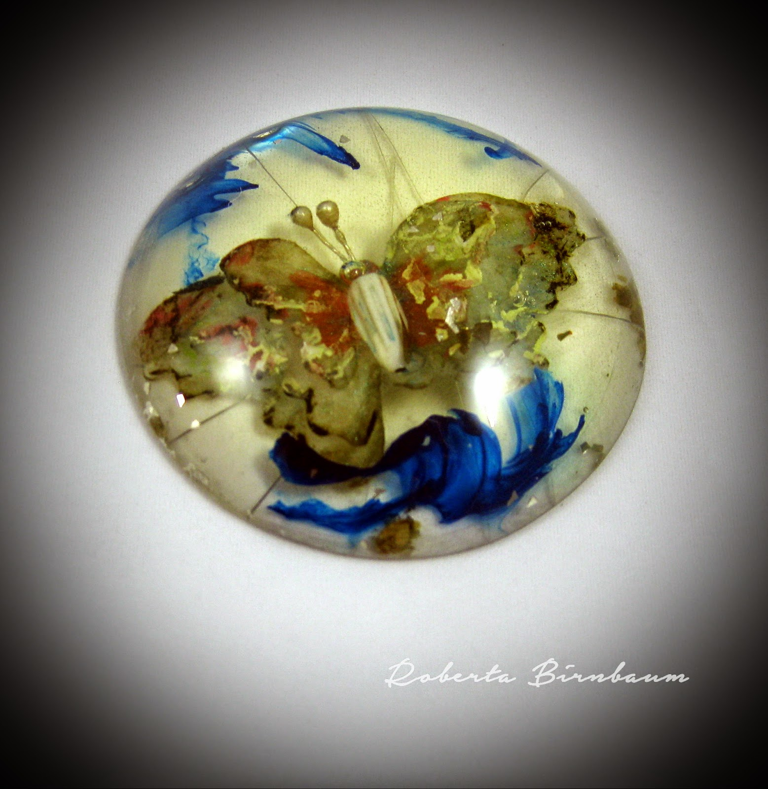 Roberta Birnbaum ETI resin butterfly paperweight