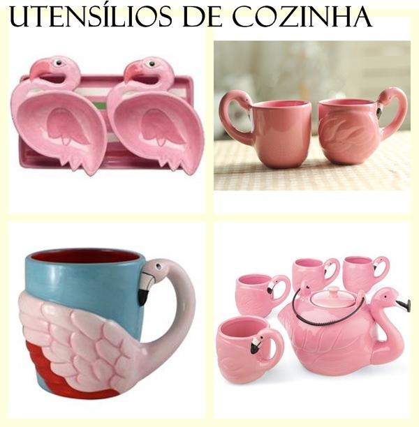 Utensílios de cozinha flamingos