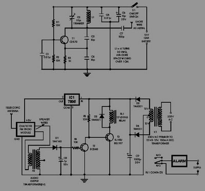 FM RADIO CONTROLLER ANTI THEFT ALARM CIRCUIT DIAGRAM