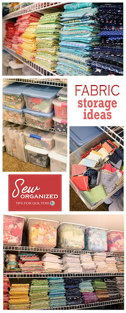Fabric storage and organization, tips and ideas from A Bright Corner