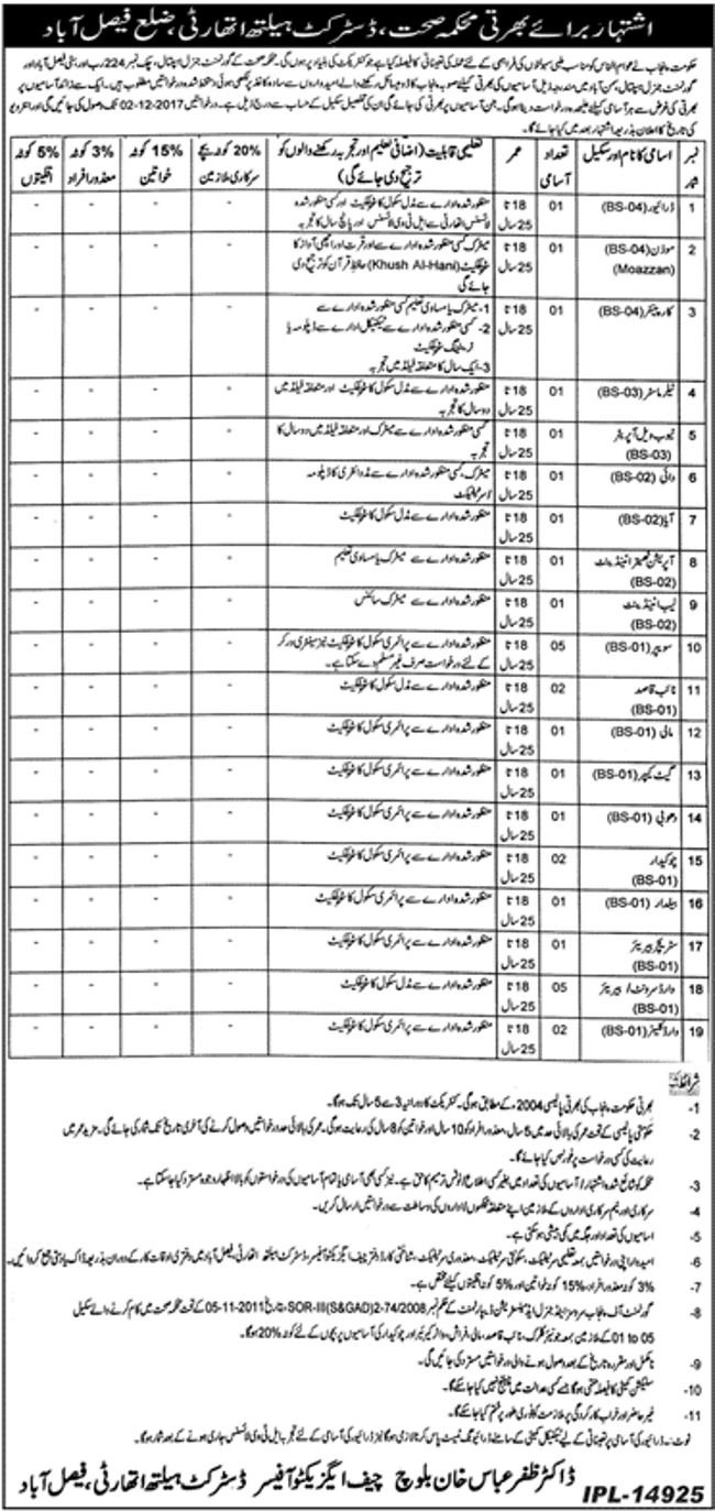 Jobs In District Health Authority Faisalabad Nov 2017