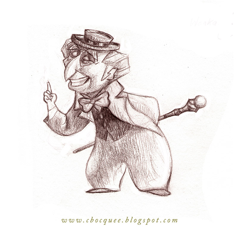 Cartoon style character design sketch of Willy Wonka in pencil.